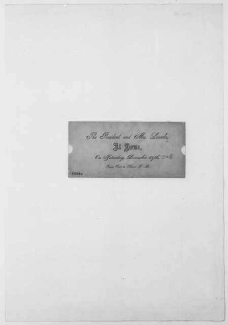 Abraham Lincoln and Mary Todd Lincoln to Unknown, December 19 [1863]  (Printed Invitation)