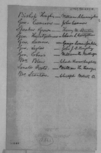 Abraham Lincoln, [April 23, 1863]  (Memorandum on West Point Recommendations)