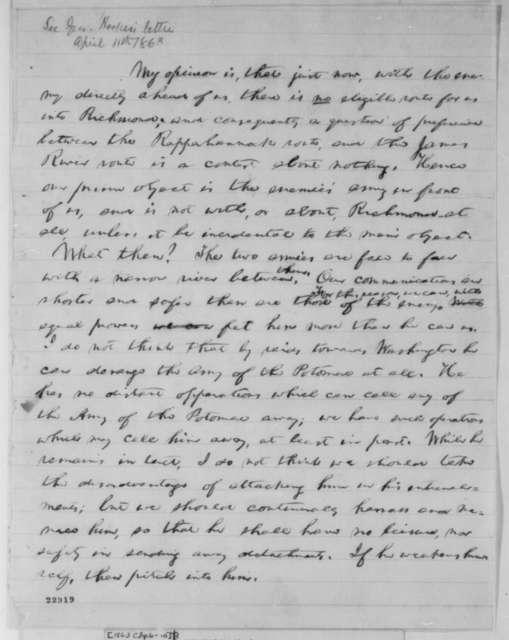 Abraham Lincoln, April 6-10, 1863  (Memorandum on Military Tactics)