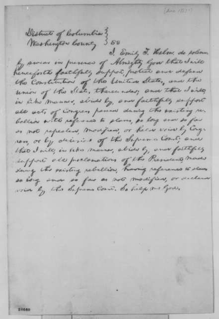 Abraham Lincoln, [December 14, 1863]  (Loyalty Oath for Emily Todd Helm)