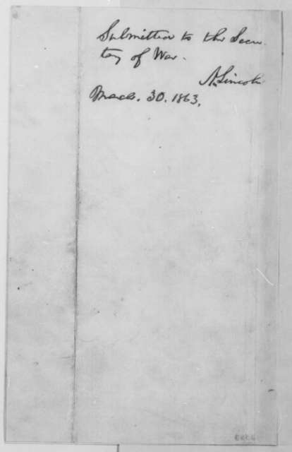 Abraham Lincoln, Friday, March 27, 1863  (Memorandum on meeting with James Blake; endorsed by Lincoln, March 30, 1863)