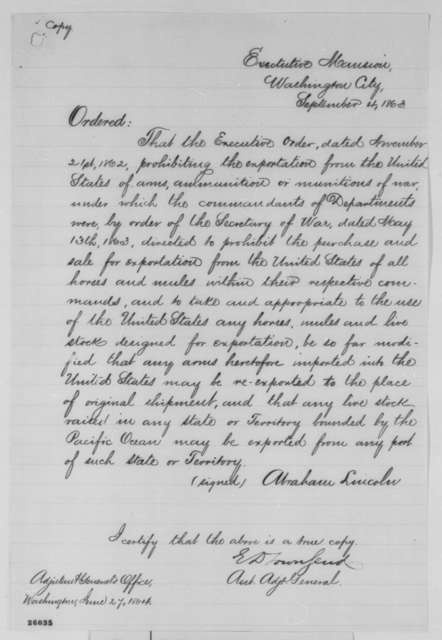 Abraham Lincoln, Friday, September 04, 1863  (Executive Order concerning export of arms)