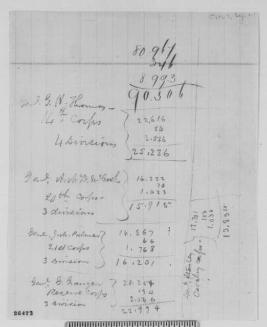 Abraham Lincoln, Monday, September 21, 1863  (Notes on Military Troop Strength)