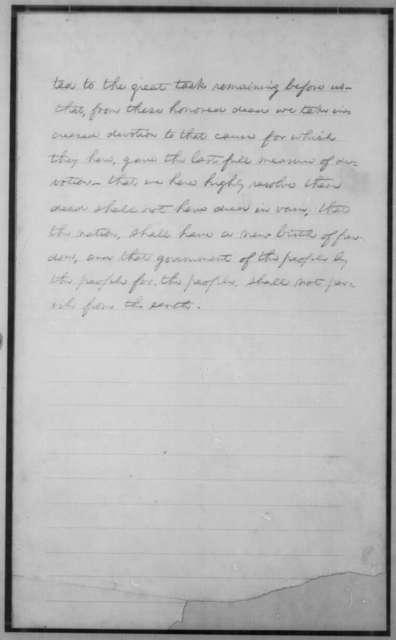 Abraham Lincoln, [November 1863]  (Gettysburg Address: Nicolay Copy)