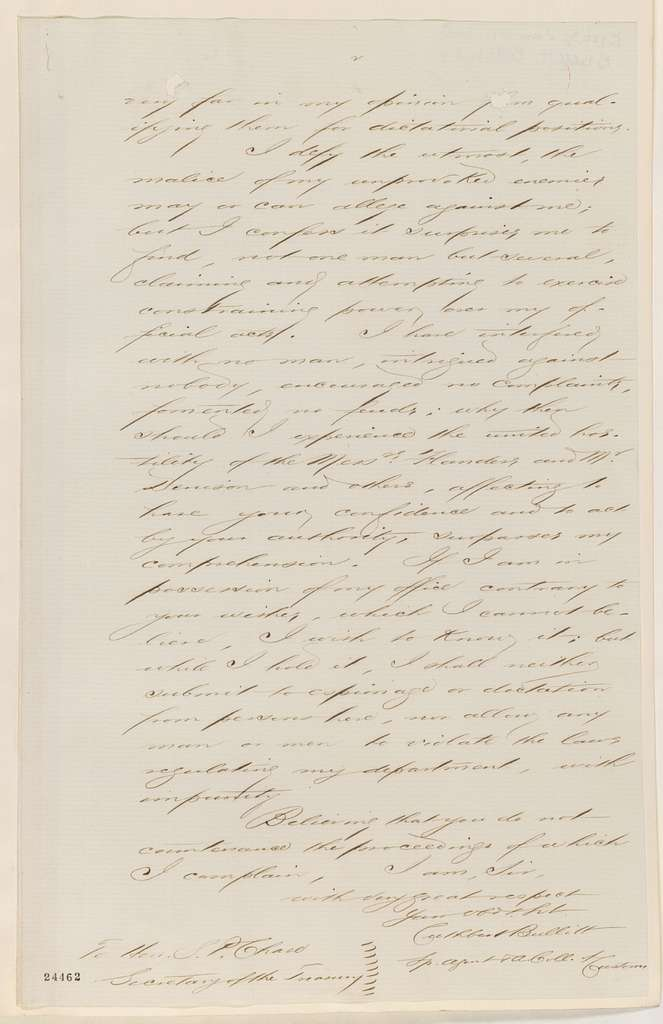 Abraham Lincoln papers: Series 1. General Correspondence. 1833-1916: Cuthbert Bullitt to Salmon P. Chase, Tuesday, June 30, 1863 (Cover letter)
