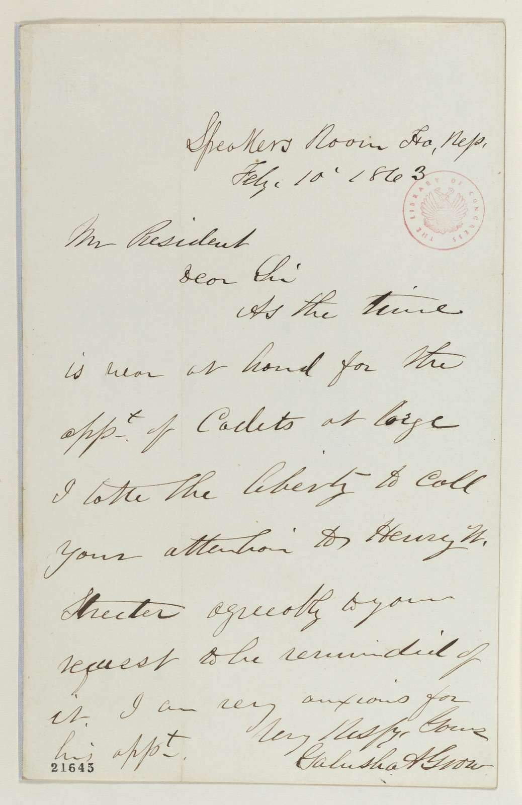 Abraham Lincoln papers: Series 1. General Correspondence. 1833-1916: Galusha A. Grow to Abraham Lincoln, Tuesday, February 10, 1863 (Appointment of cadets to West Point; endorsed by Lincoln)