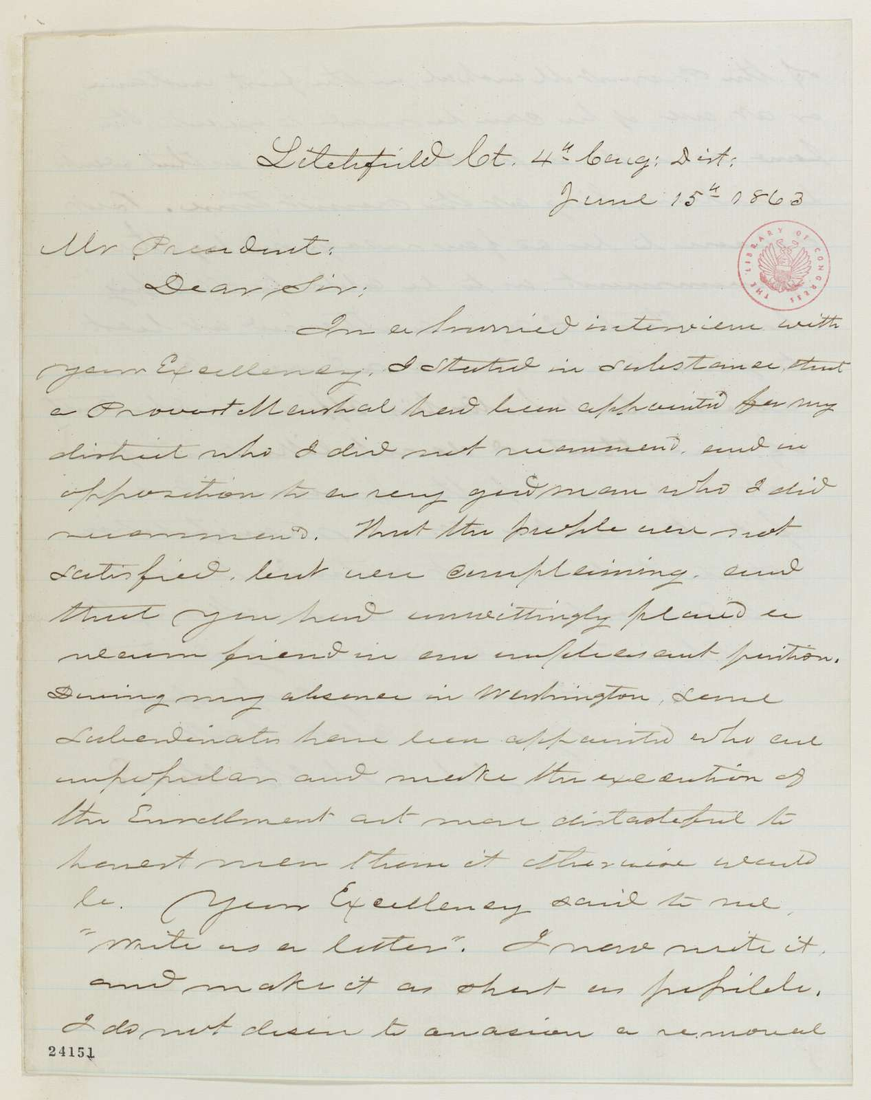 Abraham Lincoln papers: Series 1. General Correspondence. 1833-1916: John Hay to Julian R. Campbell, Monday, June 15, 1863 (Acknowledgment of his June 10 letter to Lincoln)