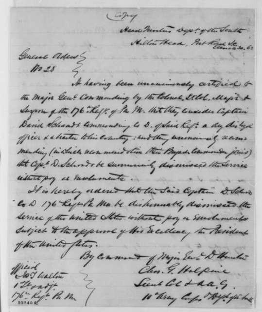 Abraham Lincoln, Thursday, April 30, 1863  (Endorsement on Case of David Schaadt; with copy of General Hunter's March 30, 1863 order on verso)