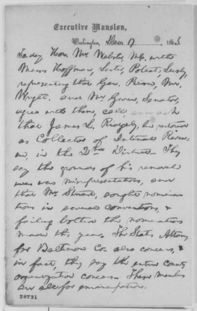 Abraham Lincoln, Thursday, December 17, 1863  (Memorandum concerning reappointment of James L. Ridgely as collector of internal revenue for the 2nd District of Maryland)