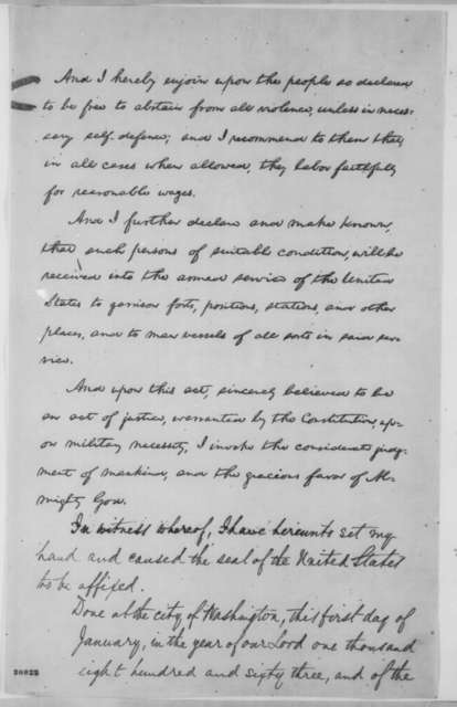 Abraham Lincoln, Thursday, January 01, 1863  (Final Emancipation Proclamation--Final Draft [Lithograph Copy])