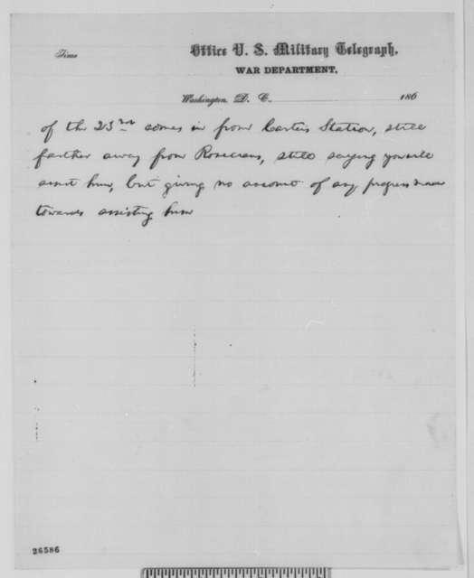 Abraham Lincoln to Ambrose E. Burnside, Friday, September 25, 1863  (Burnside's failure to reinforce Rosecrans)