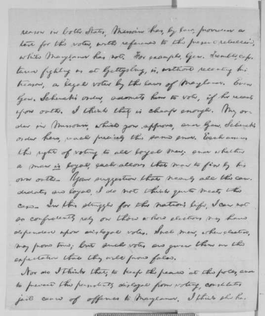 Abraham Lincoln to Augustus W. Bradford, Monday, November 02, 1863  (Military interference in Maryland election)