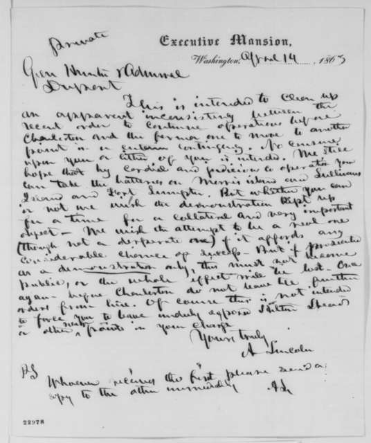 Abraham Lincoln to David Hunter and Samuel F. Dupont, Tuesday, April 14, 1863  (Operations against Charleston)