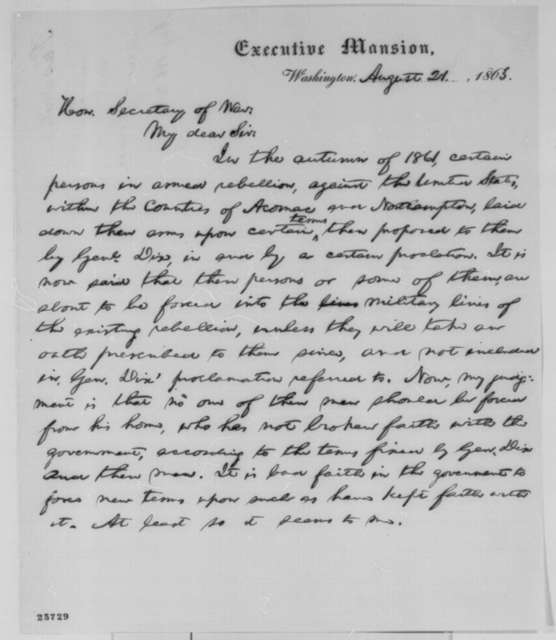 Abraham Lincoln to Edwin M. Stanton, Friday, August 21, 1863  (Amnesty granted to rebels on Eastern Shore of Virginia)