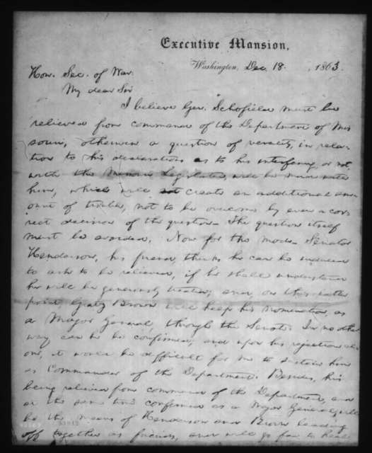Abraham Lincoln to Edwin M. Stanton, Friday, December 18, 1863  (Removal of General Schofield as commander in Missouri (Fragment))
