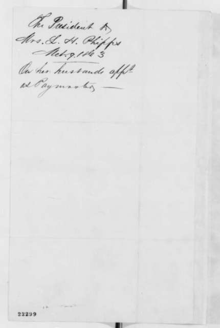 Abraham Lincoln to Edwin M. Stanton, Monday, March 09, 1863  (Introduces Mrs. L. H. Phipps)