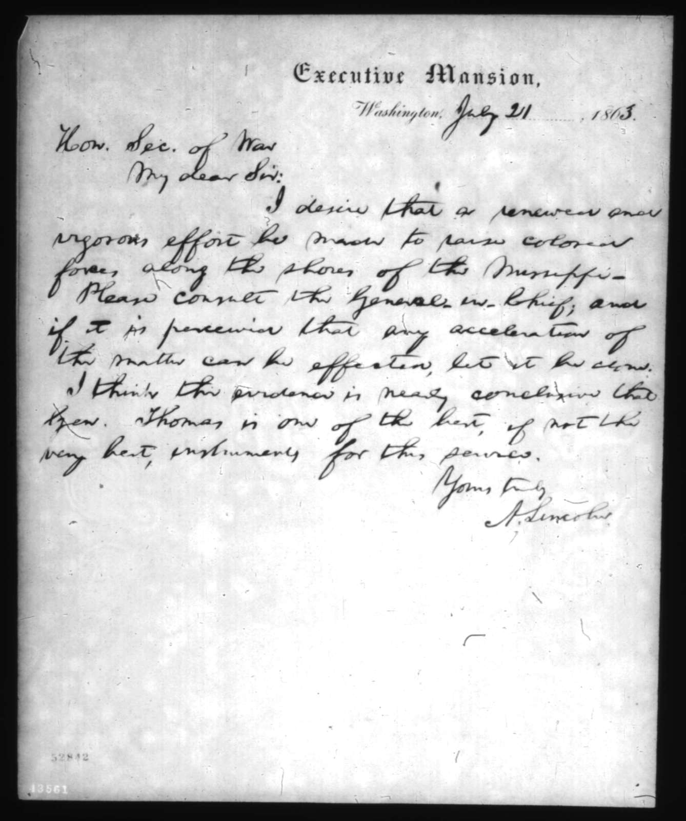 Abraham Lincoln to Edwin M. Stanton, Tuesday, July 21, 1863  (Recruitment of black soldiers)