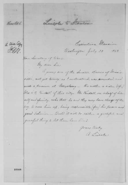 Abraham Lincoln to Edwin M. Stanton, Tuesday, July 28, 1863  (Exchange of Robert Y. Brown)