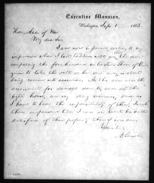 Abraham Lincoln to Edwin M. Stanton, Tuesday, September 01, 1863  (Affairs on Eastern Shore of Virginia)