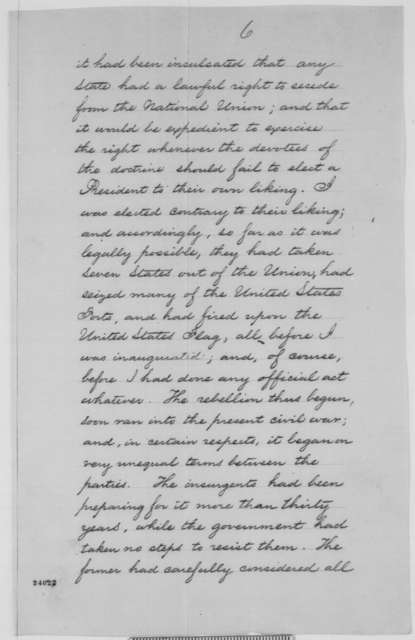 Abraham Lincoln to Erastus Corning and Others, [June] 1863  (Copy No. 1 of Lincoln's reply to resolutions concerning military arrests and suspension of habeas corpus)