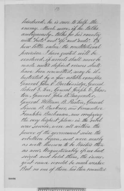 Abraham Lincoln to Erastus Corning and Others, [June] 1863  (Copy No. 2 of Lincoln's reply to resolutions concerning military arrests and suspension of habeas corpus)