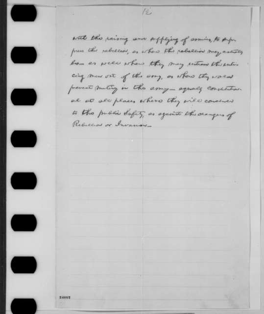 Abraham Lincoln to Erastus Corning and Others, [June] 1863  (Draft of reply to resolutions concerning military arrests and suspension of habeas corpus)
