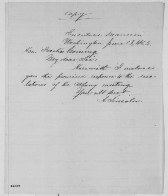 Abraham Lincoln to Erastus Corning, Saturday, June 13, 1863  (Cover letter)