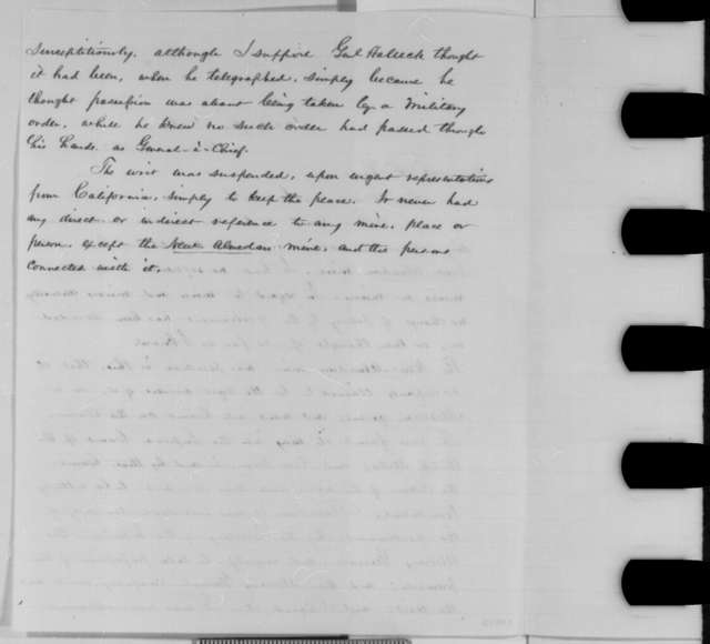Abraham Lincoln to Frederick F. Low, Monday, August 17, 1863  (New Almaden Mine)