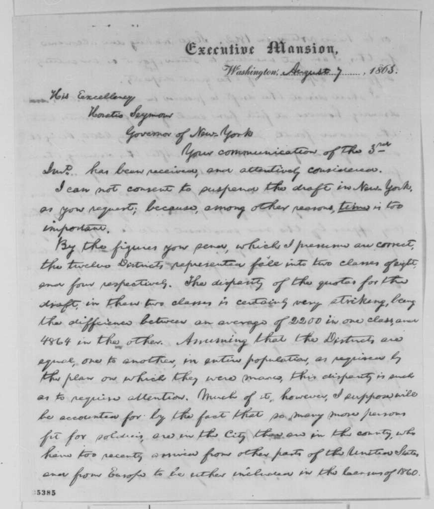Abraham Lincoln to Horatio Seymour, Friday, August 07, 1863  (Conscription in New York)