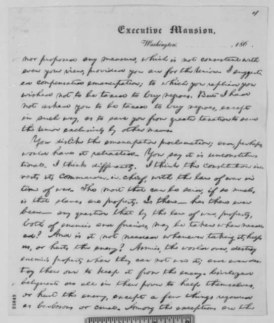 Abraham Lincoln to James C. Conkling, Wednesday, August 26, 1863  (Draft of letter to be read at Union mass meeting in Springfield)