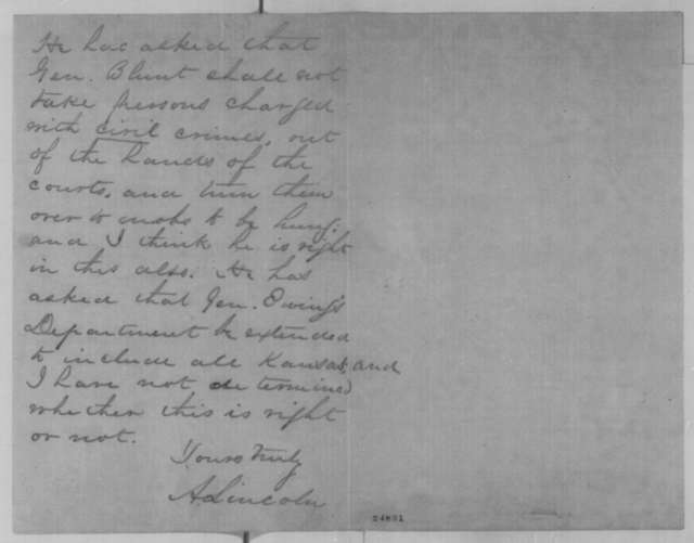 Abraham Lincoln to James H. Lane, Friday, July 17, 1863  (Feud between Gov. Thomas Carney and Gen. James G. Blunt)