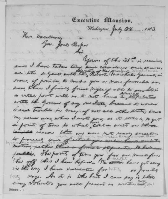 Abraham Lincoln to Joel Parker, Friday, July 24, 1863  (Conscription in New Jersey)