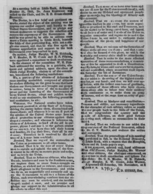 Abraham Lincoln to John J. Astor, Jr., Nathaniel Sands, and Robert B. Roosevelt, Monday, November 09, 1863  (Mayoral election in New York)
