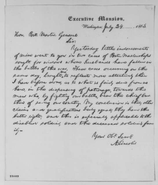 Abraham Lincoln to Montgomery Blair, Friday, July 24, 1863  (Appointments for widows of veterans)