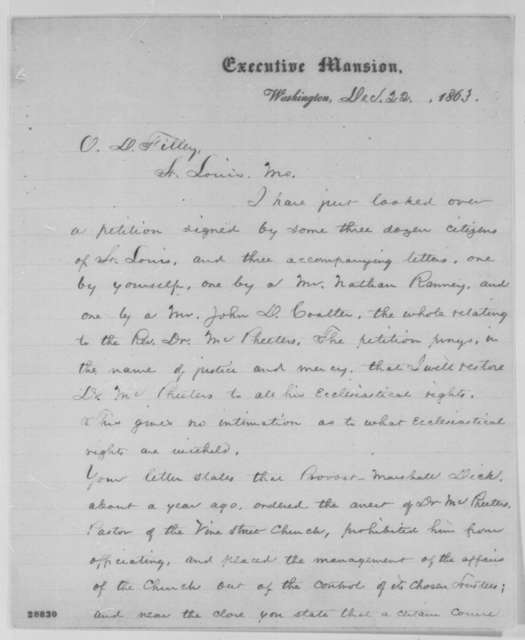 Abraham Lincoln to Oliver D. Filley, Tuesday, December 22, 1863  (Case of Samuel B. McPheeters)