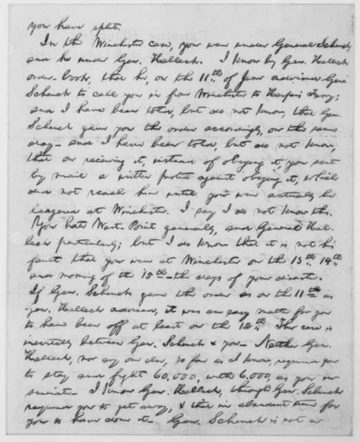 Abraham Lincoln to Robert H. Milroy, Monday, June 29, 1863  (Milroy's loss of a division; endorsed by Milroy)