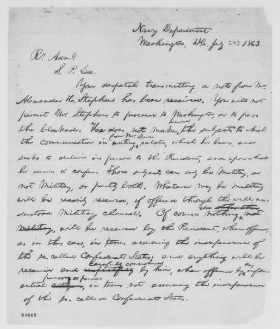 Abraham Lincoln to Samuel P. Lee, July [4] 1863  (Alexander Stephens' request to pass military lines)