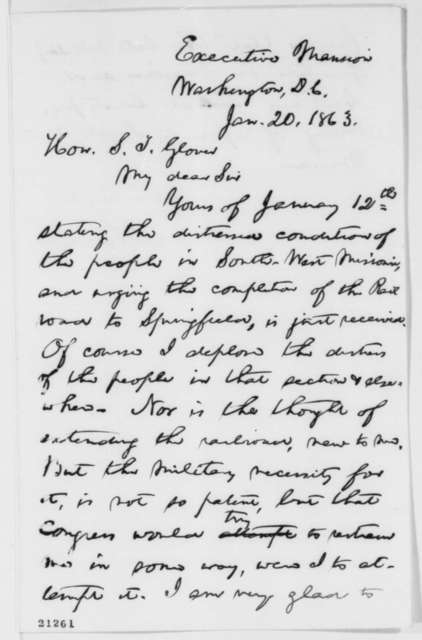Abraham Lincoln to Samuel T. Glover, Tuesday, January 20, 1863