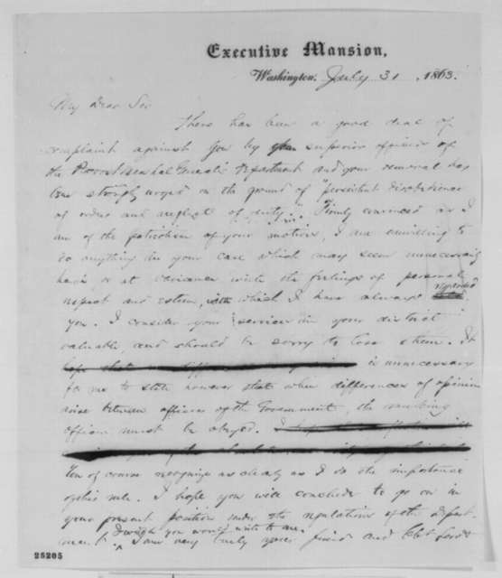 Abraham Lincoln to Samuel W. Moulton, Friday, July 31, 1863  (Moulton's removal as provost marshal)