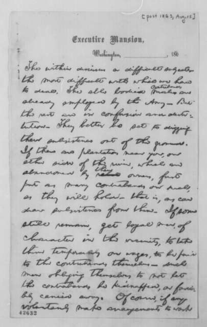 Abraham Lincoln to Stephen A. Hurlbut, [August 1863]  (Contrabands)