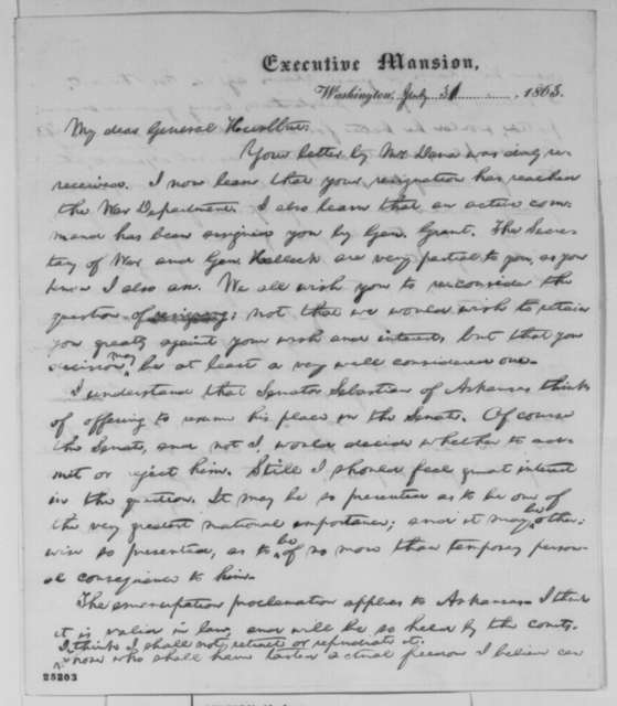 Abraham Lincoln to Stephen A. Hurlbut, Friday, July 31, 1863  (Hurlbut's resignation and affairs in Arkansas)