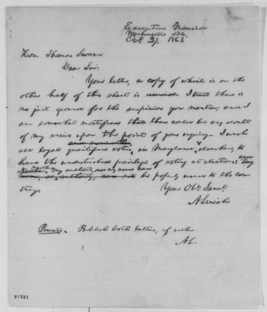 Abraham Lincoln to Thomas Swann, Tuesday, October 27, 1863  (Interference of Federal Government in upcoming Maryland elections)