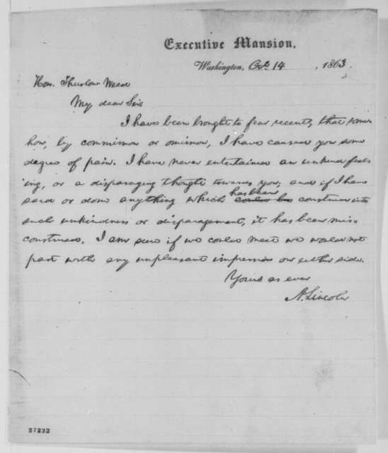 Abraham Lincoln to Thurlow Weed, Wednesday, October 14, 1863  (Apology)