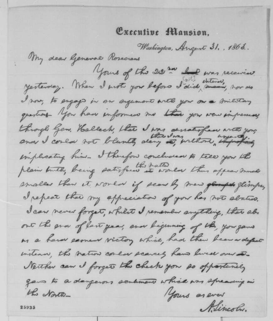 Abraham Lincoln to William S. Rosecrans, Monday, August 31, 1863  (Reply to Rosecrans's letter of August 22)