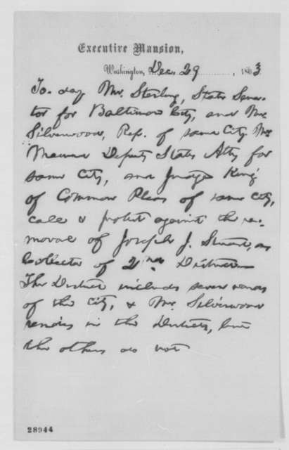 Abraham Lincoln, Tuesday, December 29, 1863  (Memorandum Concerning Joseph J. Stewart)