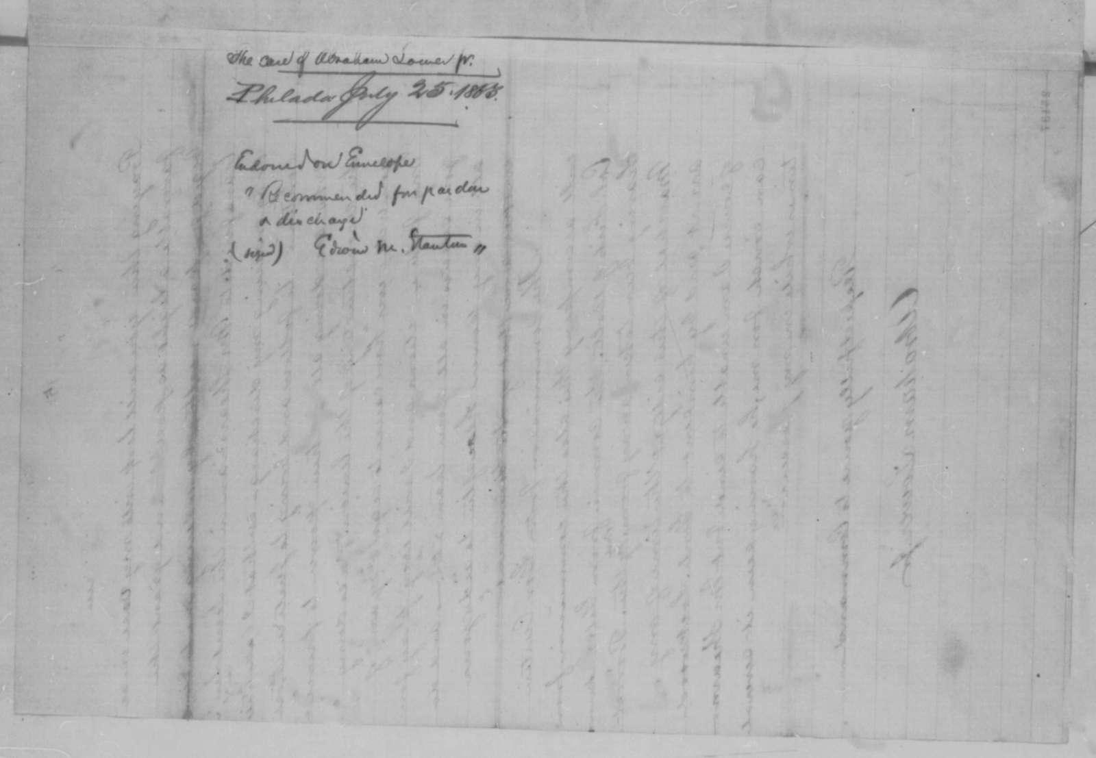 Abraham Lower Jr. to Abraham Lincoln, Saturday, July 25, 1863  (Account of his work in the secret service)