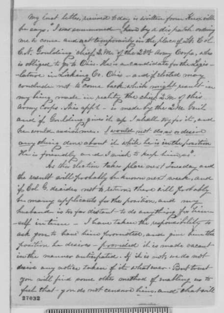 Ada Bailhache to Abraham Lincoln, Thursday, October 08, 1863  (Requests new assignment for her husband)
