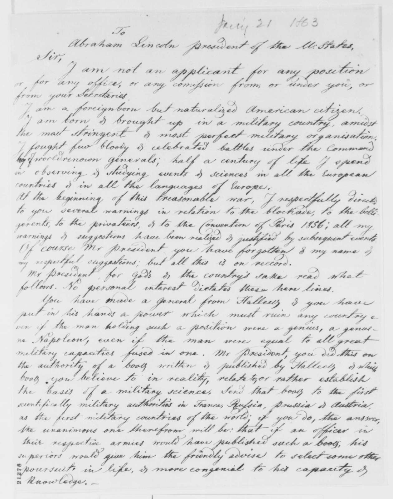 Adam Gurowski to Abraham Lincoln, Wednesday, January 21, 1863  (Military advice)
