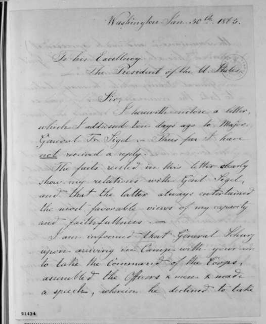 Adolph Von Steinwehr to Abraham Lincoln, Friday, January 30, 1863  (General Schurz's command of the XI Corps)