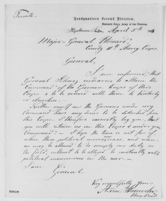 Adolph Von Steinwehr to Oliver O. Howard, Sunday, April 05, 1863  (Germans want to remain in 11th Corps)